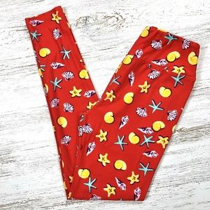 OS LULAROE Red Starfish Shells Beach Leggings